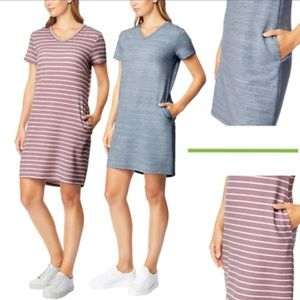 32 degrees cool dress (purple with white stripes)